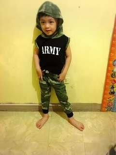 Army terno jogger pants and hoodie for 2 to 4 yrs old