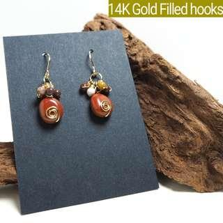 BN Jasper gemstone handmade earrings, 14K gold filled hooks, tarnish resistant wires. Lane22handmade