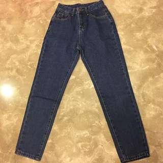 深藍色高腰牛仔長褲