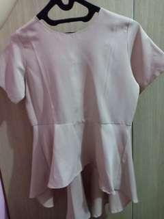 Peplum drappery top nude