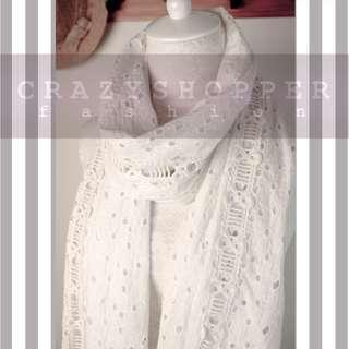 出口日本 手工蕾絲拼刺繡棉圍巾 Handmake Lace and Embroidery Scarf
