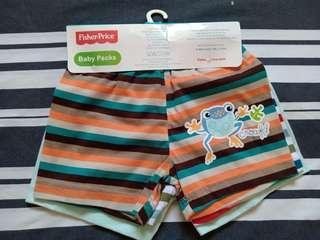 Brandnew Fisher Price 3-pc pack baby boy shorts for 3-6 months, cheaper than mall price