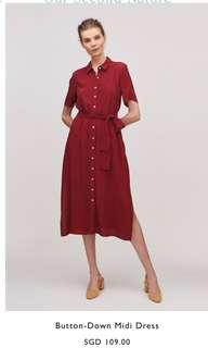 OSN Our Second Nature Button-down midi dress in red