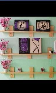 Rak dinding kayu / floating shelf / rak melayang
