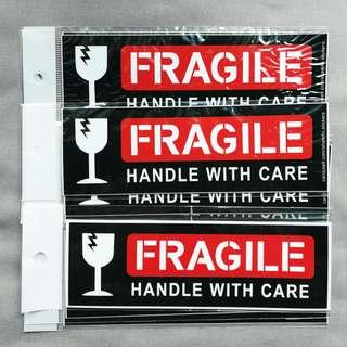 FRAGILE - HANDLE WITH CARE. Waterproof stickers. Approximately 160x55mm. $2 each. 3 for $5 with Free Normal Mail.