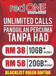 REDONE UNLIMITED CALLS & 10GB PERMONTH ONLY RM38