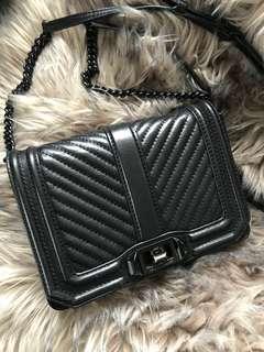 Rebecca Minkoff Chevron Quilted Small Love Bag Black