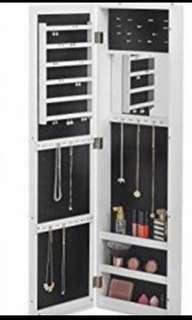 NEW IN BOX - WALL MOUNT MIRROR JEWELLERY CABINET WITH LOCK
