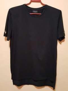 ZARA Plain Black Tshirt (Long back)