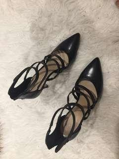 Saks 5th Ave black strappy pumps
