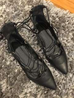 Topshop black lace up flats