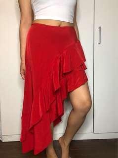 brand new red ruffled skirt SIZE S