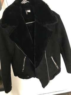 H&M Black Shearling and Suede Jacket size 6