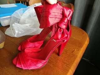 Stunning red satin heels