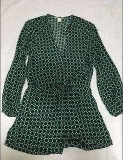 H&M Playsuit in Green Pattern