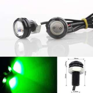 Eagle Eye 1 LED DRL for Car and Bike 18 MM Green Color