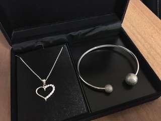 925 Sterling Silver Necklace and Bangle Set (new)