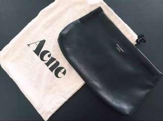 Acne Studios Black Classic Leather Pouch Clutch