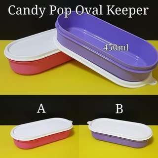 Candy Pop Oval Keeper 450ml (1)   22.0cm (L) × 10.0cm (W) × 4.7cm (H)   Retail Price S$10.00  Now S$6.50
