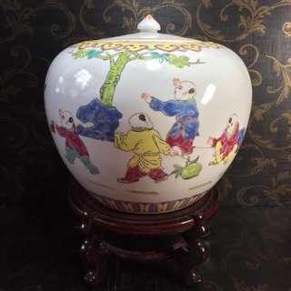Hand Painted Porcelain Lidded Jar