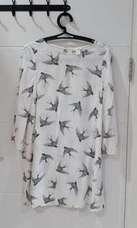 H&M white dress bird