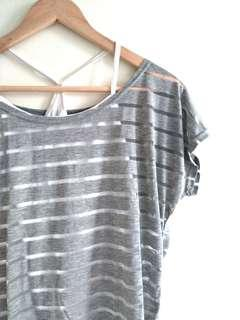 🚚 透明條紋紗網上衣(灰)