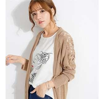 MAYUKI - Open Front Cardigan with Shoulder Detail-6020403