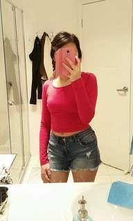 💞Cropped Top & Denim Shorts