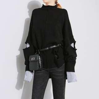 michicat 假两件黑色毛衣條紋袖 開叉拼接 半高領針織 破洞毛衣