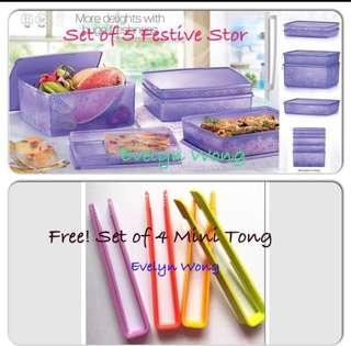 🌷Free Registered. SALE!Tupperware Set Of 5 Festive Stor N Serve Snowflake Purple Rectangle Container. Free! Set of 4 Mini Tong