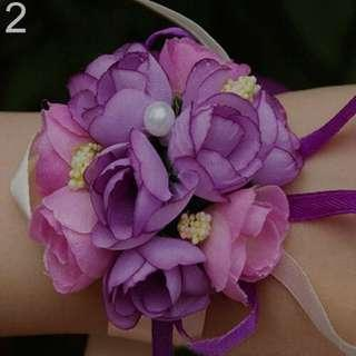 7 Brand New Wrist Flower Bracelet (Purple) #OCT10