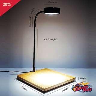 LED Light with Bamboo Wood Base for Aquarium or Terrarium