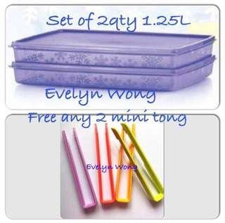 🌷Free Registered. SALE!Tupperware Set Of 2 (1.25L) Festive Stor N Serve Snowflake Purple Rectangle Container Free 2 Mini Tong
