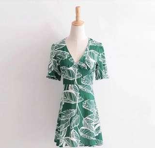 Leaf Print Short Sleeve Dress