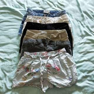CLEARANCE 6 PAIRS OF SHORTS 22cm waist