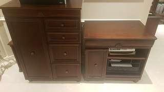 Solid wood desk with computer return & matching filing cabinet
