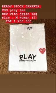 cdg play tee shirt white