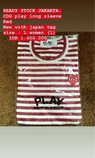 cdg play stripes long sleeve red
