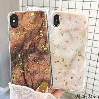 Iphone Xs max glitter jelly marble case with gold flakes