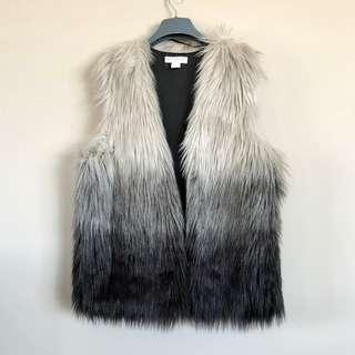 COTTON ON ombre faux fur grey sleeveless gradient vest jacket S (AU 8-10)