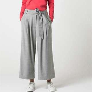Trenery Wide Leg Flannel Pants Grey 4 6