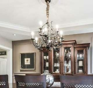 Beautiful Antiqued Brass Chandelier with Crystals