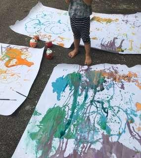 Outdoor art for toddlers/sensory play
