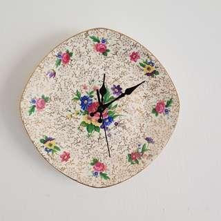 Handmade floral chintz vintage china wall clock