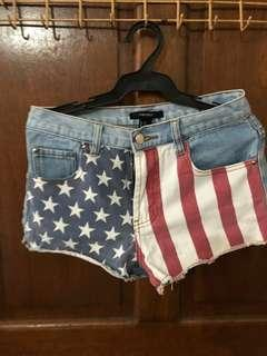 💯Authentic Forever 21 American Flag Shorts
