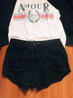 Ripped Black Highwaist Shorts