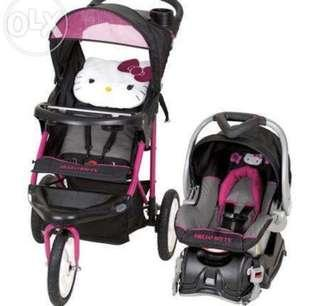 Authentic Hello Kitty Stroller with Car Seat