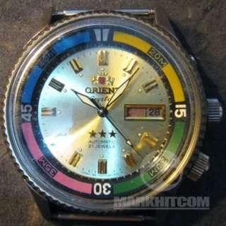 ORIENT AAA CRYSTAL super-compressor Diver WATCH 1970s Gold color tone dial