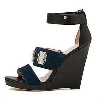 Mimco Black Navy Hey Sport Wedge Heels Shoes