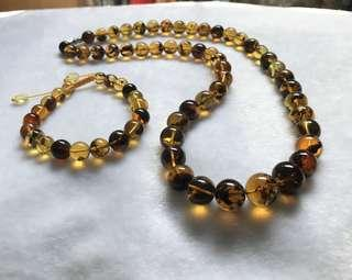 Amber necklace and bracelet set from Myanmar origin